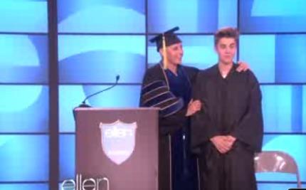 Video! Justin Bieber Graduates on 'Ellen'