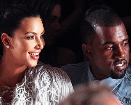 Video! Kim Kardashian and Kanye West Sparkle at Fashion Week