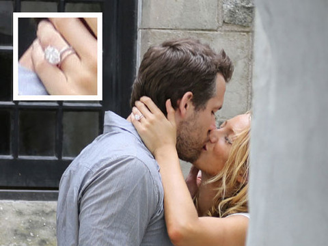 Photo! Blake Lively Kisses Ryan Reynolds, Flashes Engagement Ring
