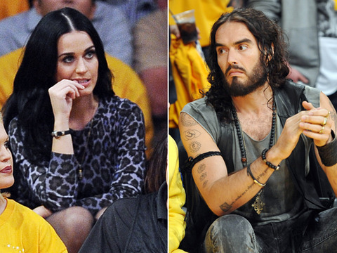 Awkward! Katy Perry and Russell Brand Attend Lakers Season Opener