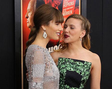 Scarlett Johansson and Jessica Biel Shimmer at 'Hitchcock' Premiere