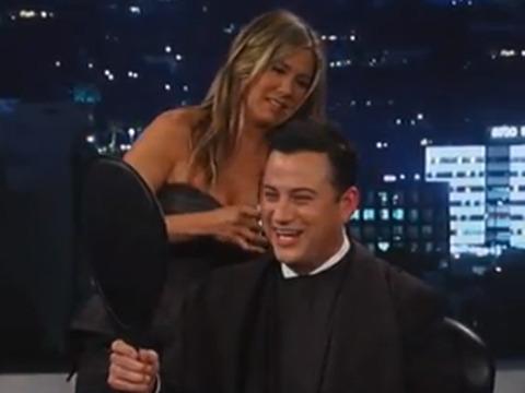 Video! Jennifer Aniston Gives Jimmy Kimmel a Haircut on TV