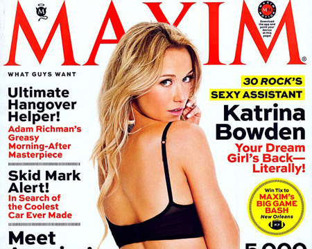 Pic! '30 Rock's' Katrina Bowden Strips for Cheeky Maxim Cover