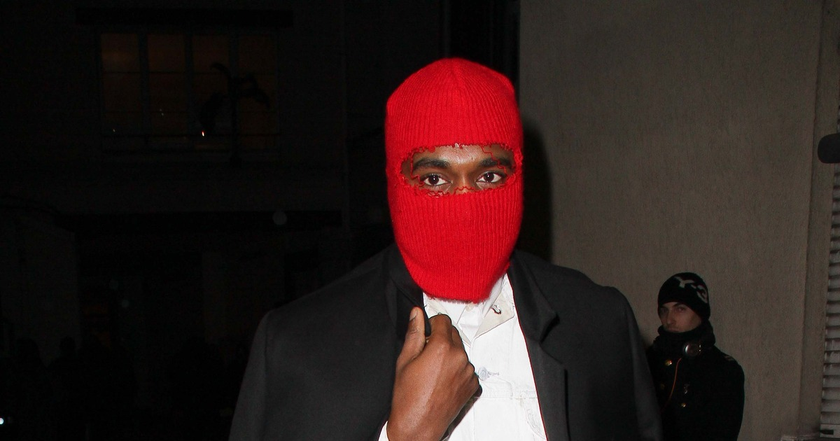 kanye west wears red ski mask to margiela paris fashion