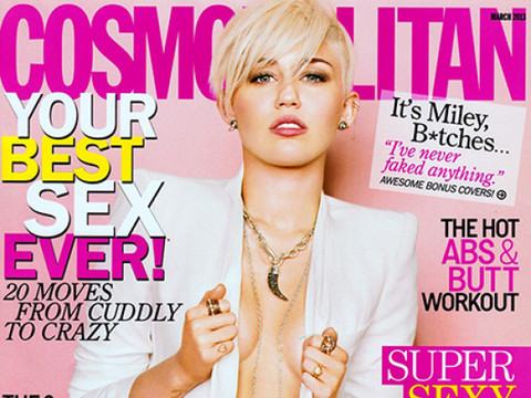 Miley Cyrus Cosmo Cover: Braless and Baring It All