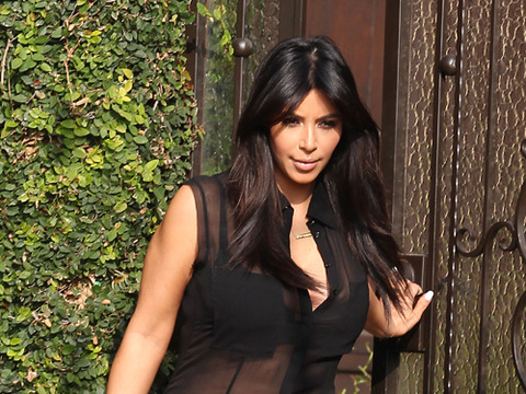 Kim Kardashian Shows Off Baby Bump in Sheer Top, Ex Vies for Annulment