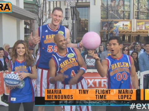 Mario vs. Maria Face-Off: Harlem Globetrotters Trick Shot Challenge