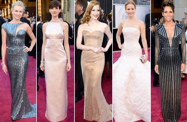 Oscars Fashion: Pale Gowns, Sparkly Dresses and a Pop of Color