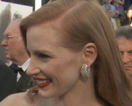 Oscars Red Carpet: Jessica Chastain on Boyfriend Gian Luca Passi