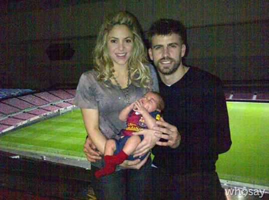 Baby Photo! Shakira and Gerard Pique Pose with Little Milan