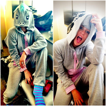 Twitter Pic! Miley Cyrus Wears Engagement Ring… and a Onesie