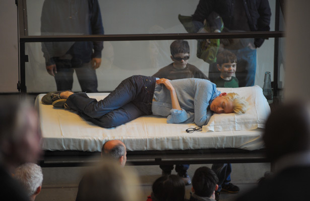 Actress Tilda Swinton Sleeps in Box for Art Installation