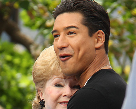 Debbie Reynolds Cuddles with Mario at The Grove!