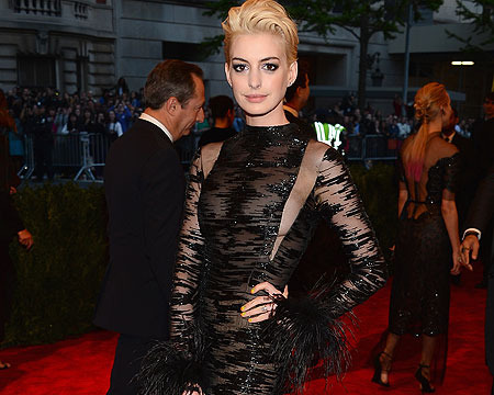 Punk Glam at the Met Gala: Anne Hathaway Sports New Hair