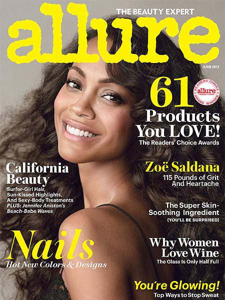 Zoe Saldana, Naked and Loving It in Allure