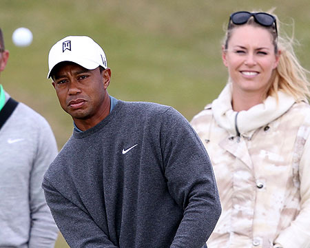Pics! Tiger Woods Practices with Lindsey Vonn by His Side