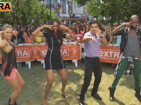 At The Grove! Tyra Banks Gives Mario a Dance Challenge