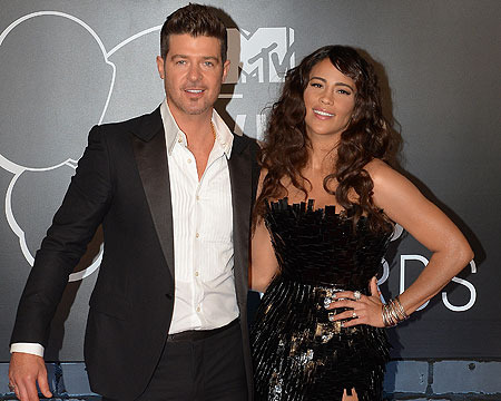 Robin Thicke's Wife: Miley's VMAs Grind on Hubby Not a Big Deal