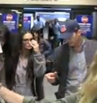 Video! Ashton Kutcher and Demi Moore Spotted Together at Burbank Airport