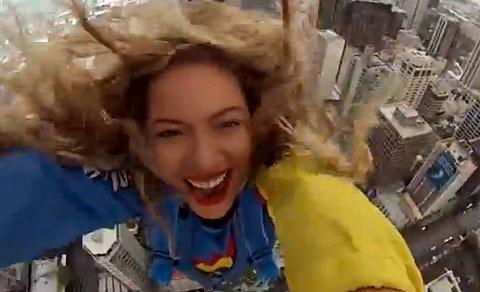 Crazy Video! Beyoncé Jumps Off a Building