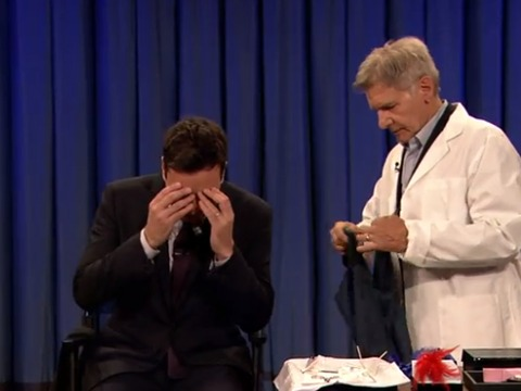 Big Boy Scared of Needles! Harrison Ford Pierces Jimmy Fallon's Ear on 'Late Night'