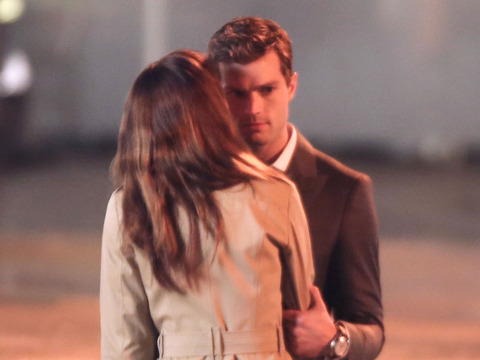 Pics from the 'Fifty Shades of Grey' Set: Anastasia Kisses Christian!