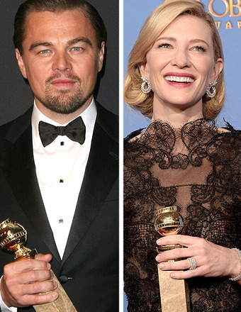 Backstage at Golden Globes: Leo DiCapiro with His Mom, Cate Blanchett Thanks Woody Allen