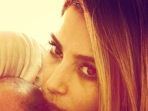 Kim Kardashian Selfie Alert! Cute Snuggle Pic with Daughter Nori