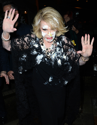 Joan Rivers Flees Pre-Oscar Party After Getting Caked in the Face!