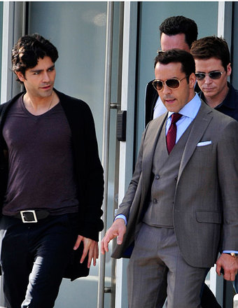 "Adrian Grenier, Jeremy Piven and the rest of the cast were seen on the set of the ""Entourage"" movie."