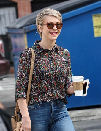 Julianne Hough smiled for the cameras after getting some coffee.