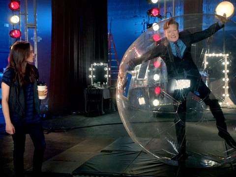 Conan O'Brien Gets Ready for 'MTV Movie Awards' with Ellen Page and... a Hamster Ball?