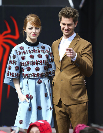 "Emma Stone and Andrew Garfield attended ""The Amazing Spider-Man 2: Rise of Electro"" in Berlin."
