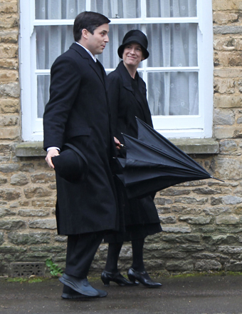 """Downton Abbey"" stars Rob James-Collier and Joanne Froggatt filmed a new episode in Bampton Village, Oxfordshire."