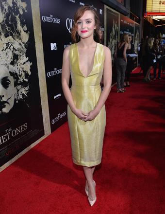 "Olivia Cooke hit the red carpet in L.A. for the premiere of her new thriller ""The Quiet Ones."""