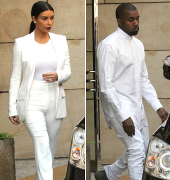 Pics! Kim and Kanye Wear Matching Outfits to Friend's Wedding
