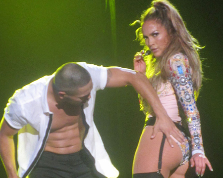 J.Lo Wows in Latex Garter Belt and Stockings at First Ever Bronx Show
