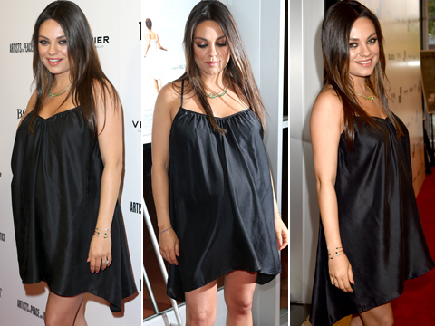 Mila Kunis Stuns in Maternity Mini Dress at 'Third Person' Premiere