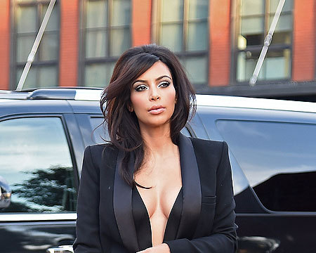 See Kim Kardashian's Cleavage-Baring Tux Top!