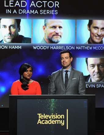 Mindy Kaling and Carson Daly made the early-morning Emmy nominations announcement on Thursday in L.A.