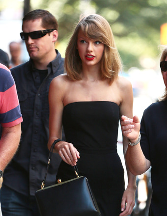 Taylor Swift stepped out in an all-black ensemble and red lipstick in NYC.