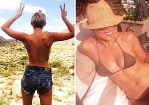 Skinstagram Battle: Miley Cyrus Topless in Daisy Dukes vs. J.Lo in Bikini