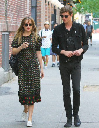 """Fifty Shades of Grey"" star Dakota Johnson took a stroll with a mystery man in NYC's East Village."