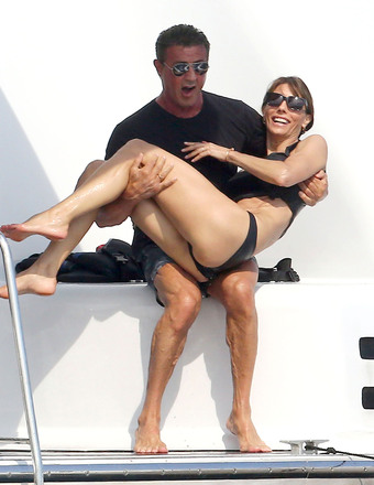 Sylvester Stallone and wife Jennifer Flavin enjoyed their vacation aboard a yacht in France.