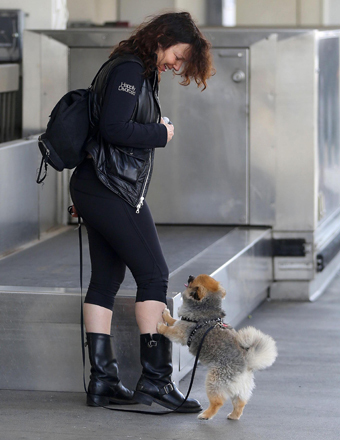 A makeup-free Fran Drescher played with her pup at LAX.