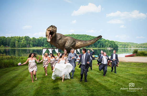 Jeff Goldblum Runs for His Life in 'Jurassic Park' Wedding Photo