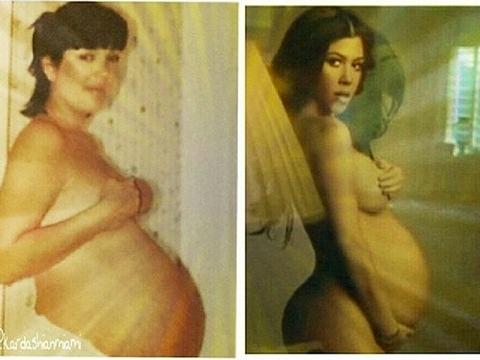 Kourtney Kardashian Shares #TBT Pregnancy Pics of Herself and Kris Jenner