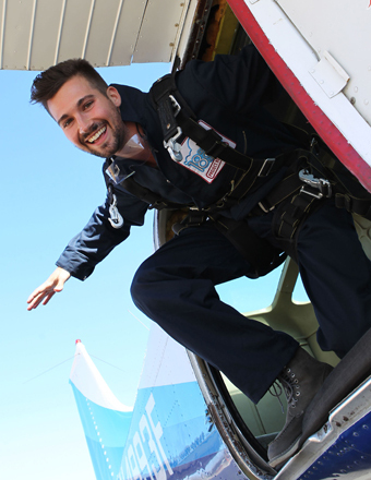 """BTR"" star James Maslow went skydiving in Santa Barbara to help raise money for 18for18, a charity that helps fight human trafficking."