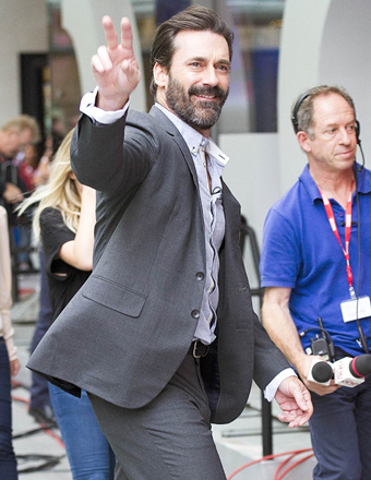 Jon Hamm waved to fans outside BBC Broadcasting House in London.