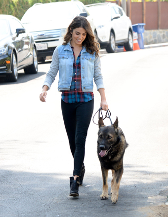 Nikki Reed was spotted walking her dog near her home in L.A.